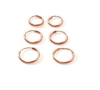 3 paia, Flash, in argento Sterling placcato in oro rosa, motivo: Endless-Orecchini a cerchio piccoli, per lobi, naso e labbra, 10 x 12 mm, 14 mm