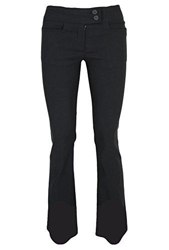 Gute Qualität schwarze dehnbare Damen Hose für Schule/Arbeit passen in Stiefel, 73.6 cmim Bein. Gr. 32-40, 2 Button Boot Leg Trouser 29