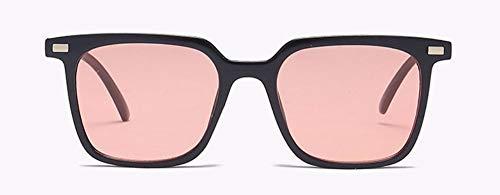 WSKPE Sonnenbrille Quadratischen Rahmen Männer Frauen Sonnenbrille Niet Sonnenbrille Retro Brillen Farben Uv400 (Schwarzen Rahmen Rosa Linse)