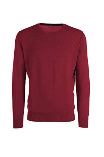 My basic maglione da uomo in cotone-cashmere - girocollo con cuciture esterne nel giromanica (52 l it uomo, rosso cardinale)