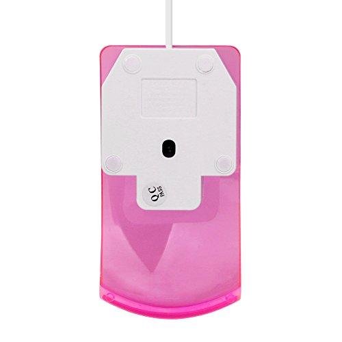 Yowablo Maus Mit Kabel 1600 DPI optische USB LED verdrahtete Spiel-Mäusemäuse für PC Laptop-Computer (Rosa)