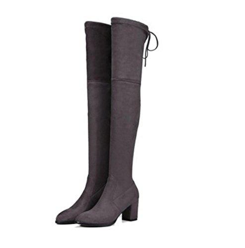 Donne Alta sopra ginocchio Stivali alti Stivali lunghi Nuova moda Testa rotonda Mid Rough Heel Scrub Stretch Black Primavera Autunno Inverno Partito Lavoro Gray