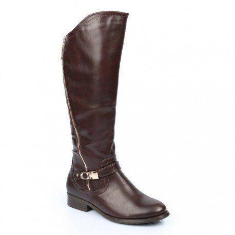 Ideal Shoes - Bottes asymétriques avec fermeture éclair métalisée et ceinturon Maelis Marron