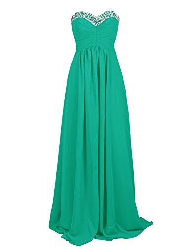 Dresstells Damen Ballkleid Chiffon Bodenlang Abendkleider mit Schnürung DT90463 Grün
