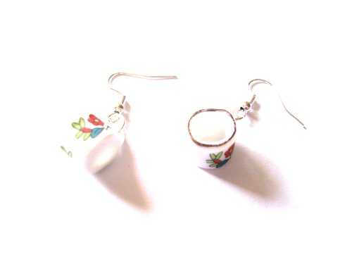 Tazza, colore: bianco con fiori rossi in casa delle bambole Teaset Confezione Regalo