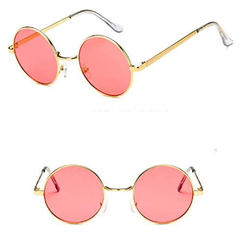 EROSPA® Retro Vintage Sonnenbrille - John Lenon Style - Runder Metallrahmen - Unisex Damen / Herren (Rot / Gold)