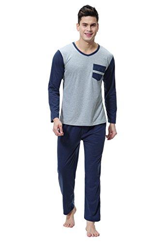 Aibrou Herren Schlafanzug Pyjama Baumwolle Lang Zweiteilig Nachtwäsche Set Langarm Rundhals/V Ausschnitt Blau XL