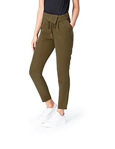 FIND Wrap Waistband Pantalones para Mujer, Verde (Khaki), 36 (Talla del fabricante: X-Small)