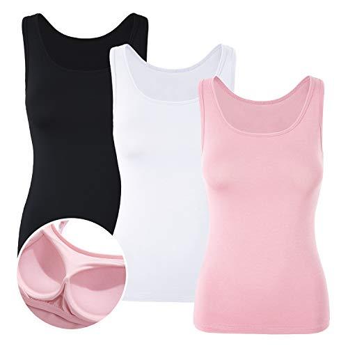 DYLH Camiseta Básica para Mujer con Sujetador Incorporado para IR a Gimnasio Fitness Deportes Yoga