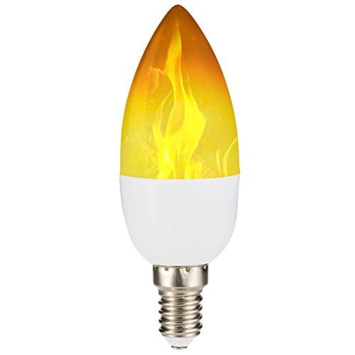Dkings 2 Pack LED-Flammeneffekt-Glühbirne,Standard-E14-Sockel flackerndes Feuerlicht,dekorative Lampe für Halloween- und Weihnachtsfeiertagsatmosphäre,LED-mit Reverse-Effekt-Modus Montieren Sie (A) (Halloween-glühbirnen)