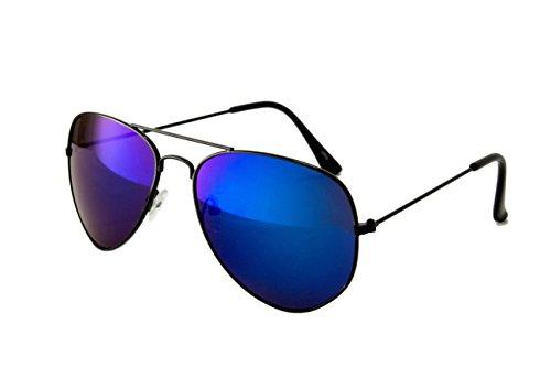 Pilotenbrille Fliegerbrille Sonnenbrille Nerd Nerdbrille Brille Vintage Classic Look UV Schutz 400 - Schwarz Blau Verspiegelt