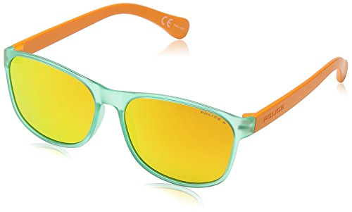 Police S1986 Trick 1 Wayfarer Sonnenbrille, SEMI MATT TRANSPARENT LIGHT GREEN & ORANGE FRAME / ORANGE MIRROR LENS