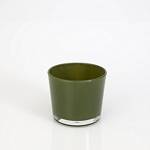 Pequeño farol / florero ALENA, verde oscuro, 8,5 cm, Ø 10 cm - Tiesto de cristal / Vaso de vidrio - INNA Glas
