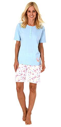 Damen Shorty Pyjama Schlafanzug Kurzarm,Top mit Knopfleiste und süssem Flamingo-Motiv - 191 205 90 104, Farbe:hellblau, Größe2:40/42 - Flamingo Pyjama