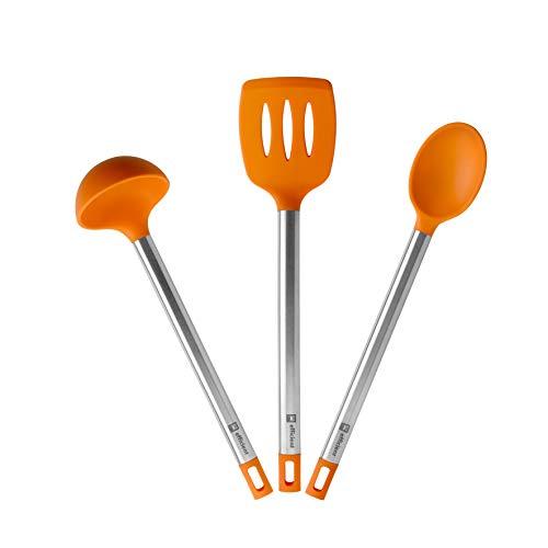 BRA Efficient Set 3 utensilios cocina, 36.5 cm, espátula, cuchara, cazo, Acero INOX, Nailon y Silicona...