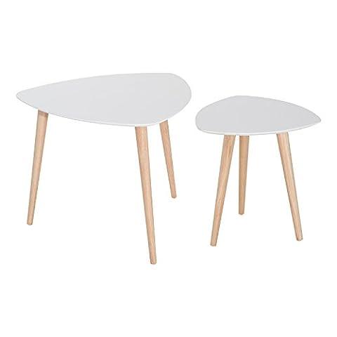 Homcom® 2 tlg. Beistelltisch Set Couchtisch Satztisch Kaffeetisch Wohnzimmer Holz