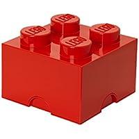 Plast Team PT40030 - Caja en forma de bloque de lego 4, color rojo [importado de Alemania]