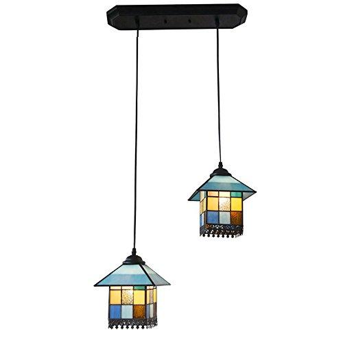 E27 blaues Glas Haus-förmige Pendelleuchte Esszimmer Schlafzimmer Räume Decke Licht zuhause,?*H:18cm*18cm/2 Heads -