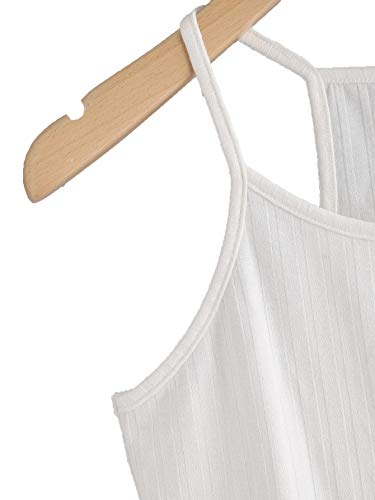 THE BLAZZE Women's Sleeveless Crop Tops Sexy Strappy Tees (XXL, White)