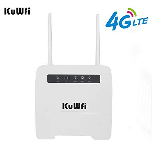 KuWFi Router Wireless 4G LTE CPE, Router Wireless CPE 150Mbps 3G / 4G Scheda SIM Router WiFi Supporto 4G su Rete cablata Fino a 32 dispositivi WiFi