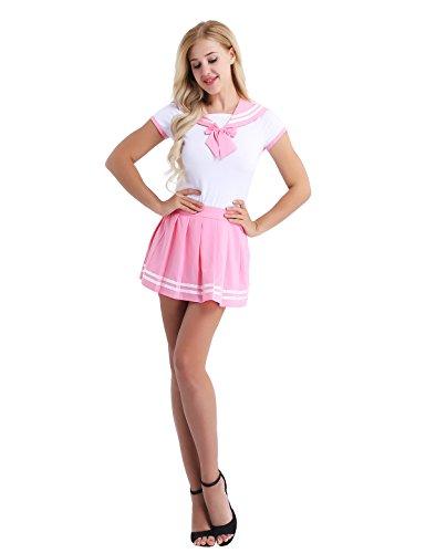 Für Erwachsene Kostüm Rosa - Freebily Damen Schulmädchen Kostüm Baby & Windel Liebhaber Uniform Kostüm Kurzarm Reizwäsche Strampler mit Mini Faltenrock Dessous Set Cosplay Kostüm Rosa XL