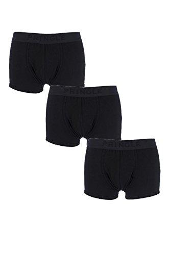 Herren-3er-Pack-Pringle-einfarbige-Baumwoll-Boxer-Shorts-in-schwarz