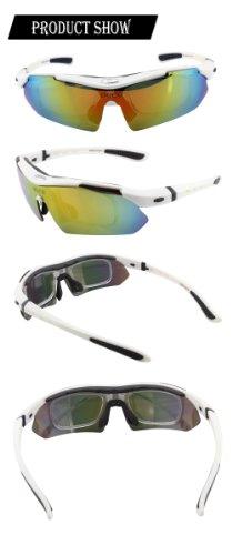 Duco Radsportbrille Outdoor Sonnenbrille für Sportler polarisierte 5 austauschbare Gläser UV400 SP0868 - 3