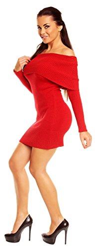 Zeta Ville - Damen Strick-kleid mit schulterfreiem Bardot-Ausschnitt - 909z Rot