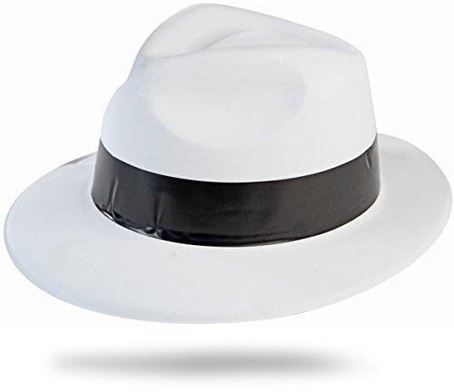 ster Hut Weiss mit Schwarzen Hutband (Nerd Kostüm Mit Hut)