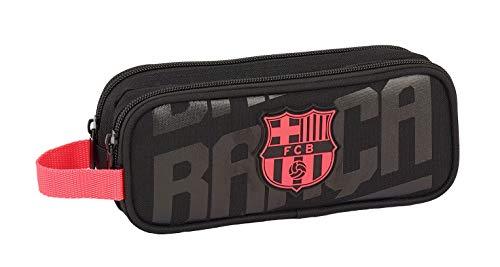Estuche FC Barcelona Doble Portatodo negro del Barça de dos departamentos en paralelo con cierre de cremallera Cinta para colgar en el extremo Producto oficial FCB fabricado por Safta Dimensiones:21.00 x 8.00 x 6.00