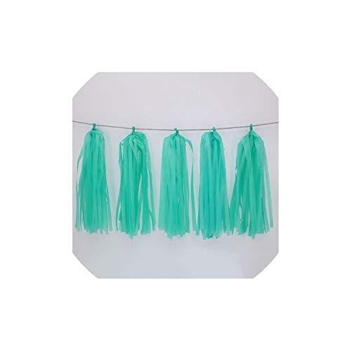 Archiba Hochzeit Dekoration Farbe Papier Quaste Garland Braut, zum Geburtstag Dekor-Baby-Party Supplies Dusche, Tiffany-Blau