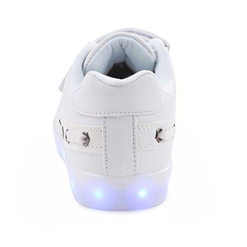 SAGUARO® Jungen Mädchen Turnschuhe USB Lade Flashing Schuhe Kinder LED leuchtende Schuhe mit farbigen Schnürsenkel Weiß-4