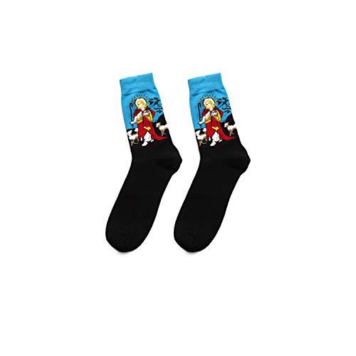 gthytjhv Crew Socken, Kleidersocken Packung, Winter Fashion Retro New Abstract Oil Painting Art Happy Cotton Socks Men Novelty Pattern Harajuku Design Van Gogh Socks Black and blue EU38-46 US7-12 -