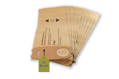 McFilter 20 Staubsaugerbeutel/Staubbeutel/Filtertüten passend für Vorwerk Kobold VK 118, 119, 120, 121, 122 - von eVendix®