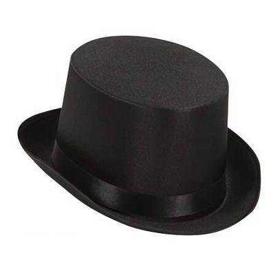 Damen-Satin-Zylinder, schwarz mit Hutband, KW 57[Spielzeug] (30er Jahre Mode Kostüm)