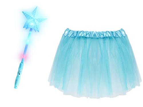Alsino Prinzessinnen Kostüm für Mädchen (Kv-162) - 2-teiliges Set mit LED-Sternstab und Tüllrock - - Schule Mädchen 3 Teilig Kostüm