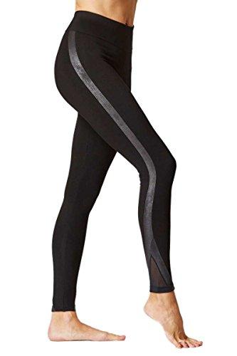 Damen-Leggins, figurformend mit Schlangenhaut-Detail, Schwarz, schwarz, XFSPABLK3XL
