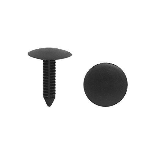 sourcingmap® 20pcs 7mm x 7mm Trou fixation rivets en plastique noir pour pousser le clip aile auto voiture
