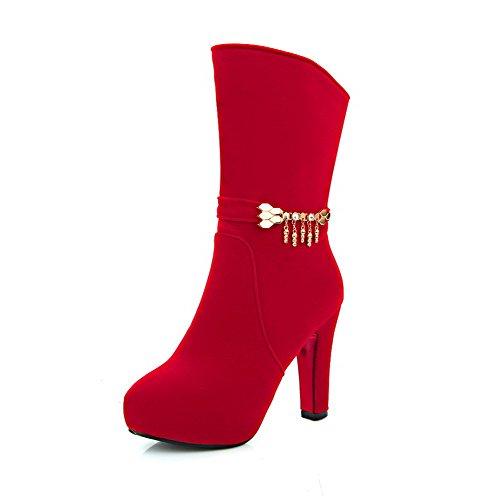 AgooLar Damen Reißverschluss Rund Zehe Hoher Absatz Mitte-Spitze Stiefel, Rot, 36