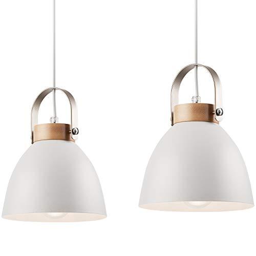 Pendel-Leuchte Decken-Leuchte aus Metall E27 Hänge-Leuchte Vintage Industrieleuchte Wohnzimmerlampe Modern Wohnzimmer mit Kabel Vintagelampe für Wohnzimmer/Küche/Büro/Praxis (Weiss, 2-flammig) -