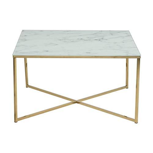 AC Design Furniture Couchtisch Antje, B: 80 x T:80 x H: 45 cm, Glas, Weiss