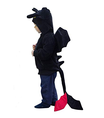 ComfyCamper Kinder Drachenkostüm, bequem, mit Kapuze, Sweatshirt, inspiriert von Ohnezahn aus