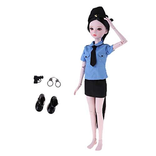 Nackten Körper Kostüm Anzug - FLAMEER 1/3 Weibliche Modepupp Normaler Hautton Nacktes Körper mit Polizistin Uniform Anzug Cosplay Kostüm Spielzeug Set - # A
