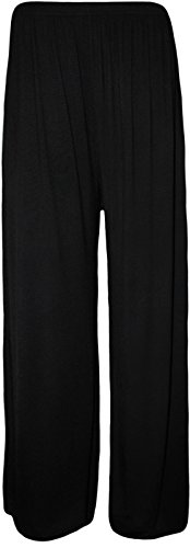 Womens Plus Size Printed Palazzo Wide Leg Flared Ladies Trousers Pants 8-26 (XL (16-18 UK), Black)