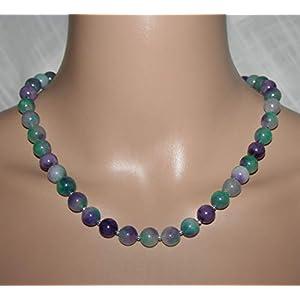 Grün Lila Halskette Fluorit Jade Damenschmuck Geschenk