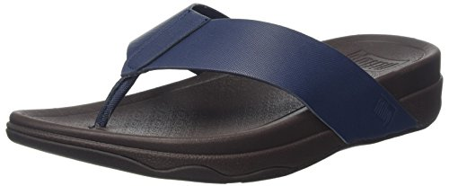 FitFlop Herren Surfer (Leather) Sandalen, Blau (Midnight Navy), 42 EU