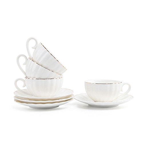 Rachel's Choice 7.5oz/220ml Porcelana Blanca Turco Taza de Café Ribete Dorado Taza de Té con Juegos de Platillo Paquete de 4
