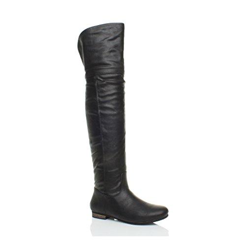 Damen Flach Kleiner Absatz Reißverschluss Kniehohe Pirat Reitstiefel Größe 7 (Piraten Stiefel Frauen Für)