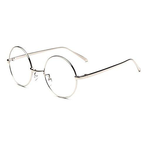 Hzjundasi Retro Jahrgang Runden Metall Rahmen Kurzsicht Eyewear Kurzsichtig Kurzsichtigkeit Myopia Brille CR-39 Harz Brille -1.0~-6.0 Silber (Diese sind nicht Lesen Brille)
