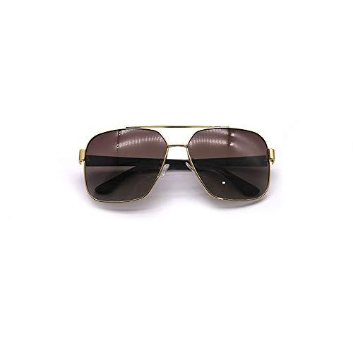 Herrenmode Polarisierte Sonnenbrillen, Vintage Retro Square Mirrored Lens Sonnenbrillen Accessoires (Farbe : Gold Frame/Brwon)